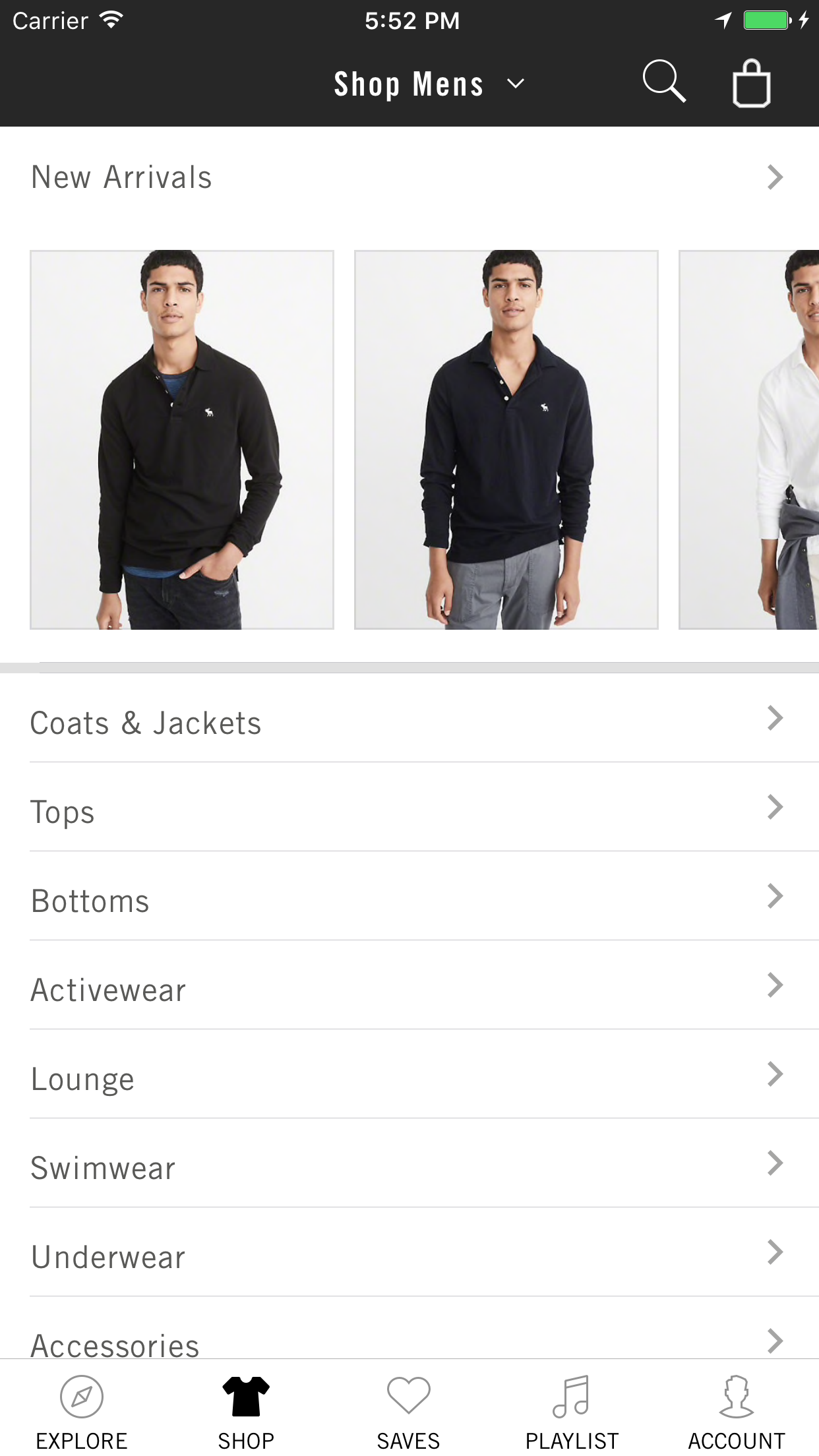 Abercrombie & Fitch Screenshot