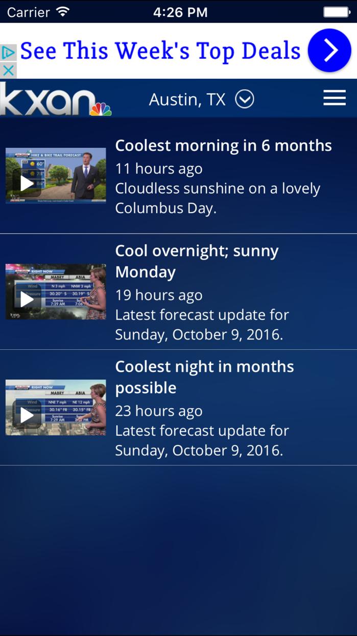 KXAN Weather Screenshot