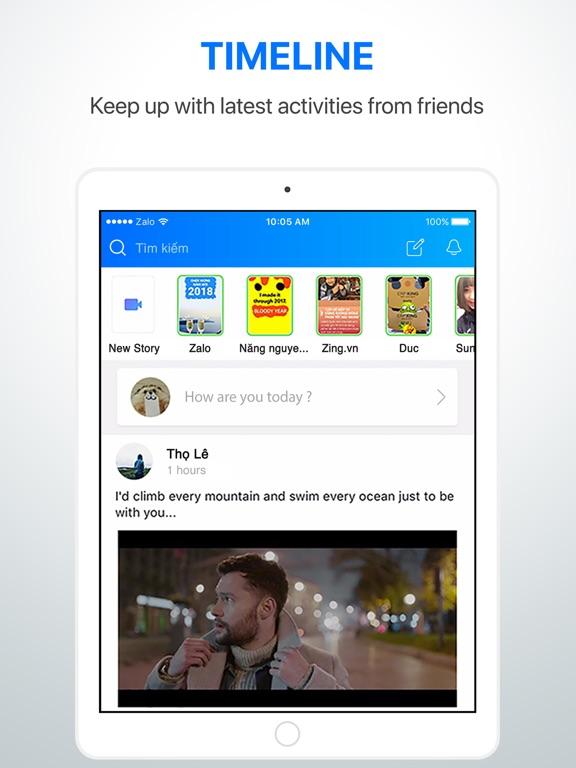 Screenshots of Zalo for iPad