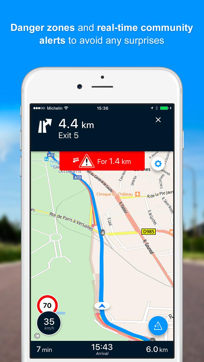 ViaMichelin GPS, Route Planner Screenshot