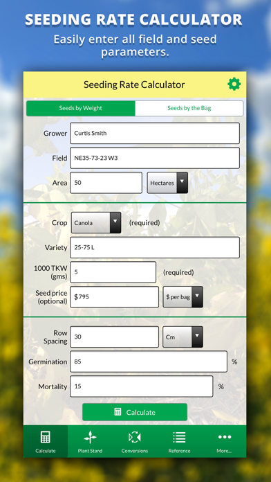 Agro Seeding Rate Calculator screenshot one