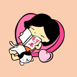 ハチワレ模様の猫と女の子