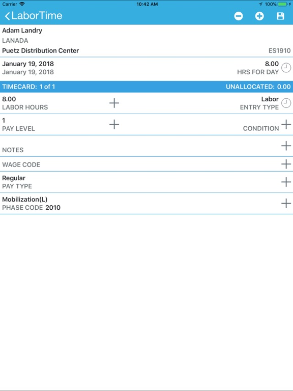 iPad Image of Viewpoint Payroll Time Entry