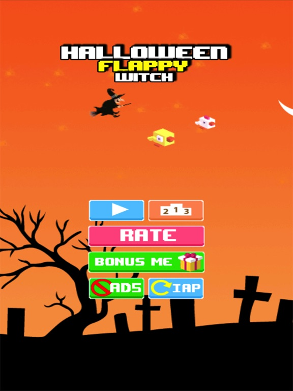 screenshot 1 for halloween flappy witch game