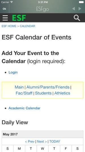 Suny Esf Academic Calendar.Esfgo On The App Store