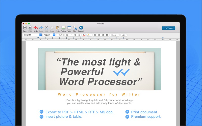 1Doc:Word Processor for Writer på PC