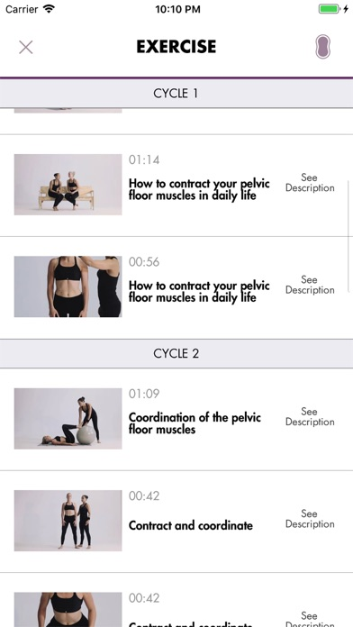 Screenshot of Carin Pelvic Floor Trainer App