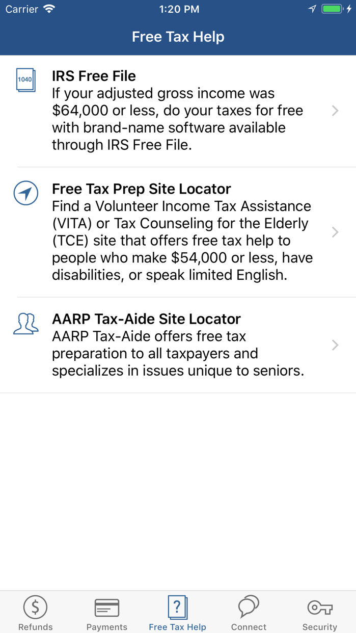 IRS2Go Screenshot