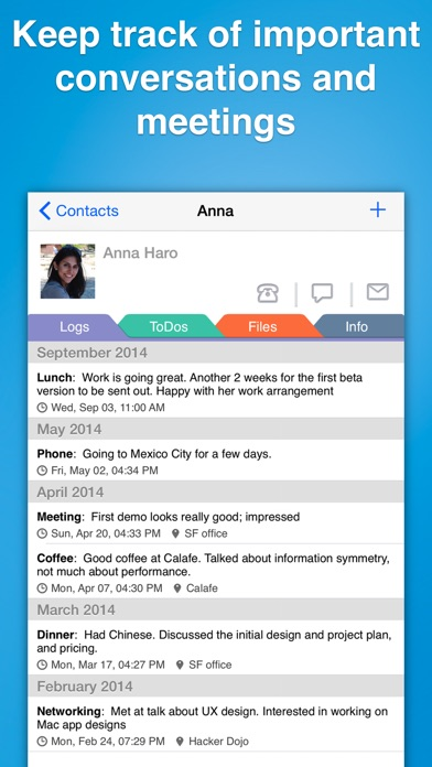 Contacts Journal CRM Screenshots
