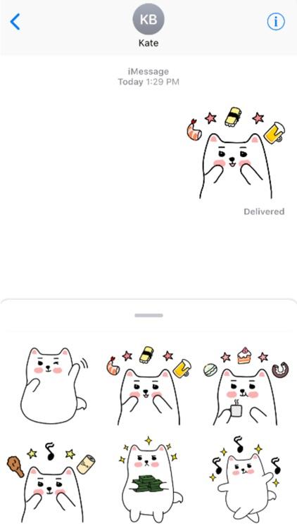 Kooni stickers 흰둥이 쿠니 아이메시지스티커