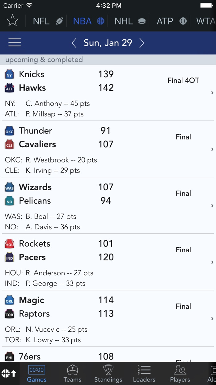 Sports Alerts Screenshot