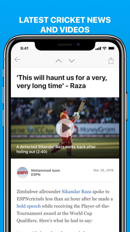 Cricinfo - Live Cricket Scores - Tips for Android & iOS Game