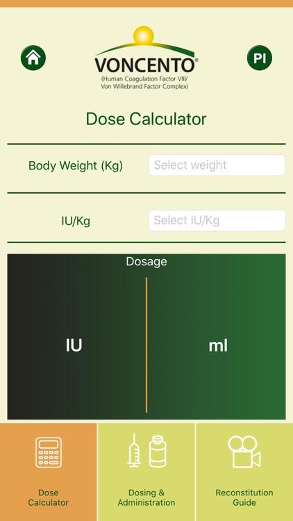 Voncento Dosing Calculator