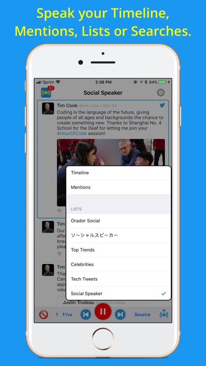 Social Speaker for Twitter