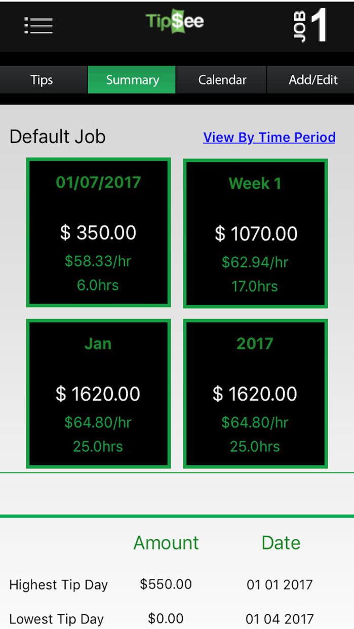 TipSee mobile Tip Tracker Screenshot