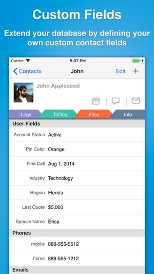 Contacts Journal CRM Screenshot