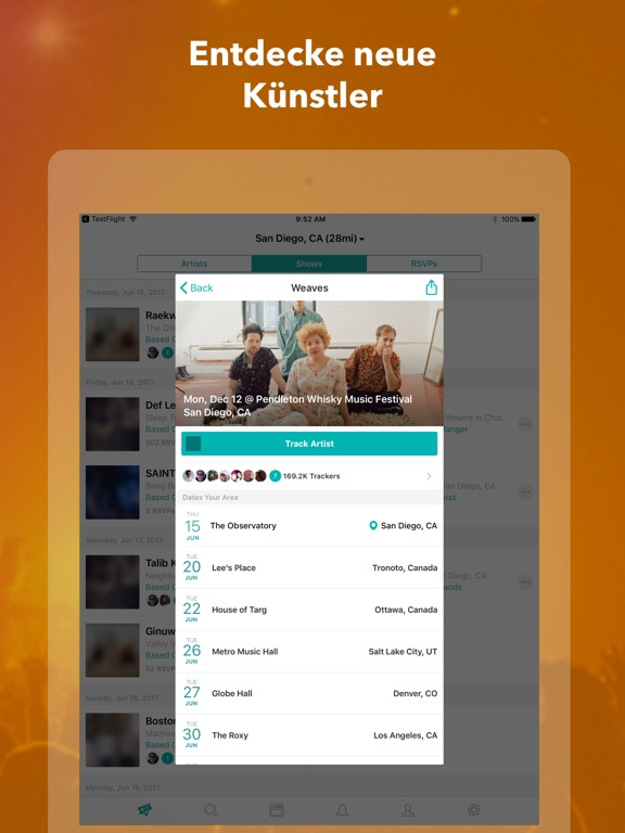 Bandsintown Concerts Screenshot