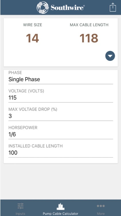 Pump Cable Calculator