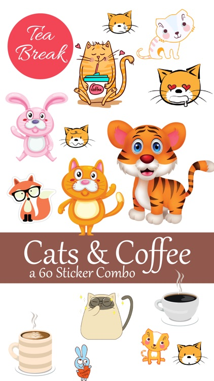 Cats and Coffee Lovers Stickers Pack