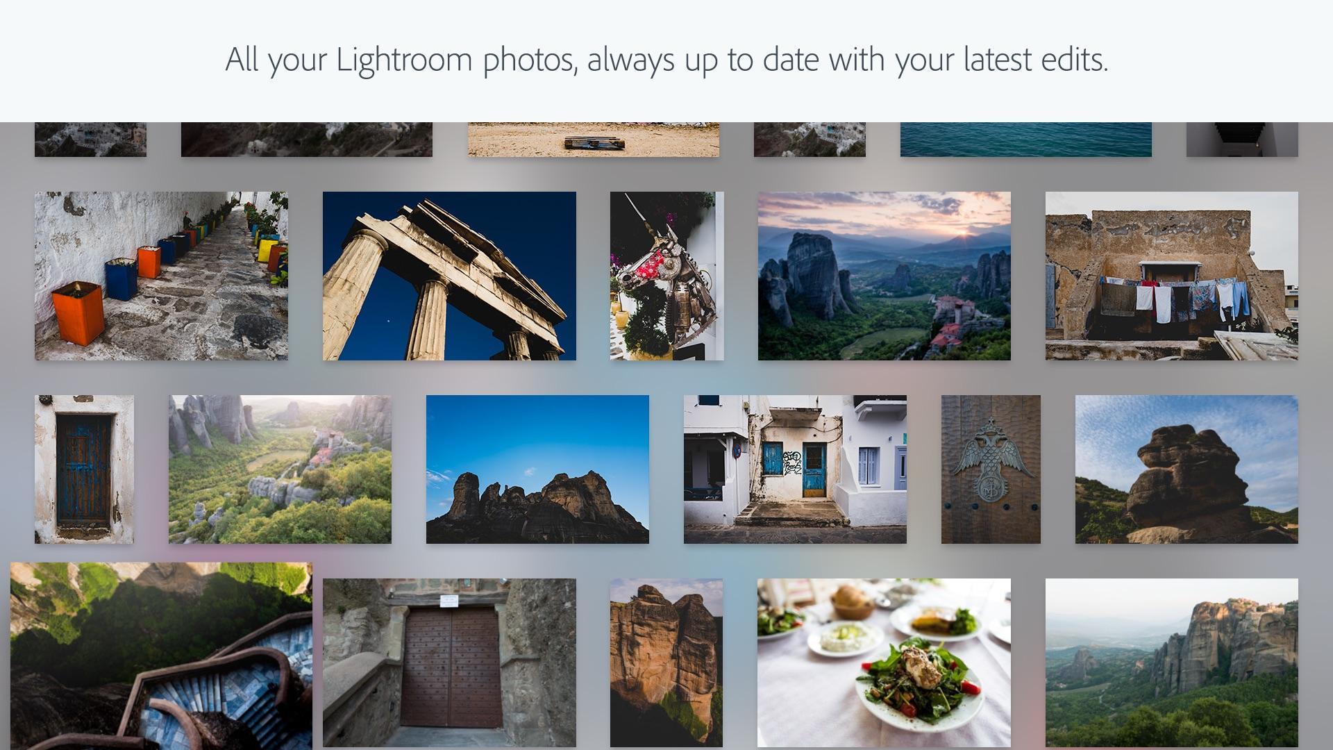 Screenshot do app Adobe Lightroom CC TV