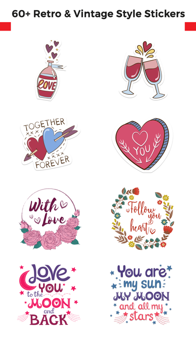 Love Stickers + Quotes - 80's Vintage & Retro Set screenshot 1