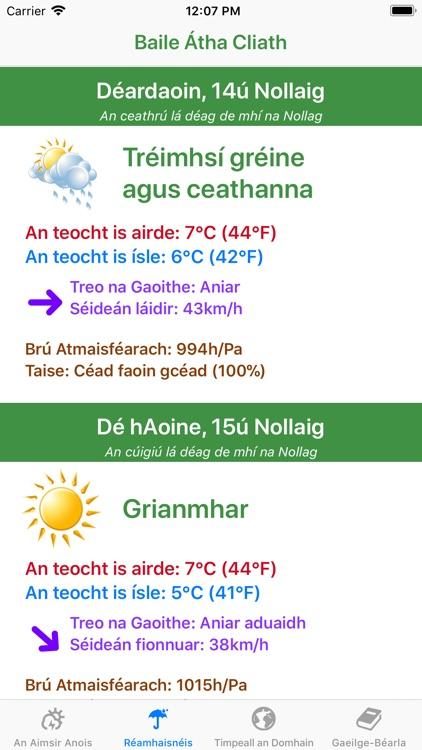 Aimsir - The Weather in Irish