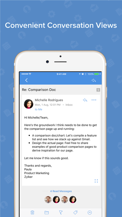 Screenshot 4 for Zoho Mail's iPhone app'