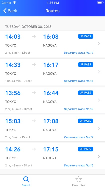 Japan Direct - route and train