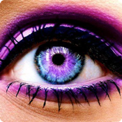 Selfie Eye Colour and Face Makeover - Change your color or add galaxy, wild cat and rainbow contact lenses then add lashes, liner and eyebrows icon