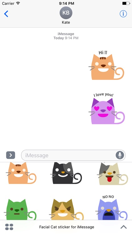 Facial Cat sticker for iMessage