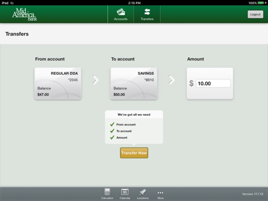 Image of Mid America Bank Tablet for iPad