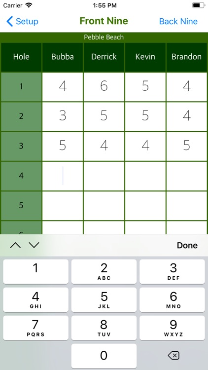 Bubba's Golf Scorecard