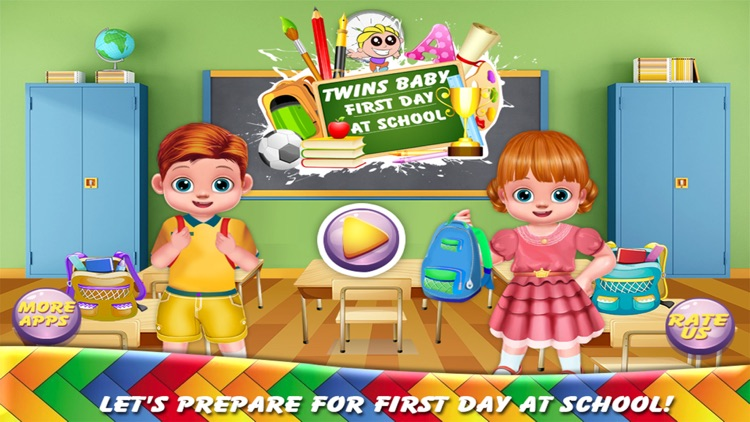 Twins Baby First Day At School