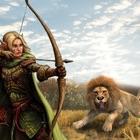 caçador tiro arco animal real icon