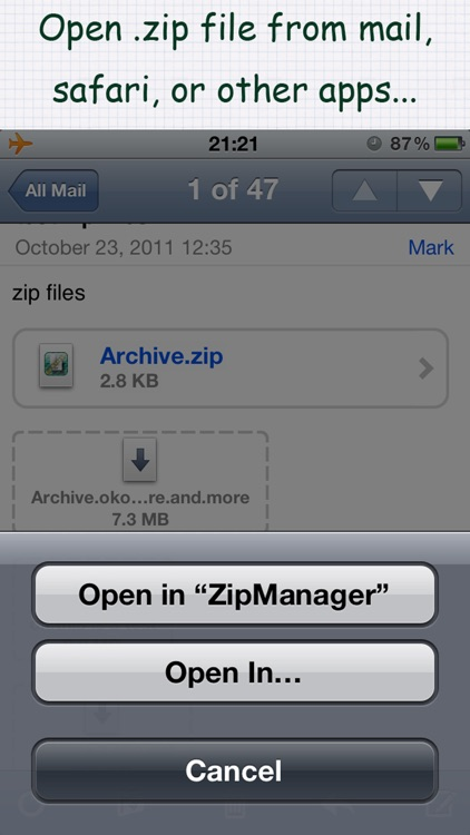 "ZipManager - ""Zip/Unzip for mail and safari..."""