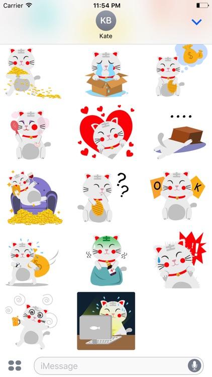 Animated LUCKy Cat Maneki Neko Money Stickers Pack