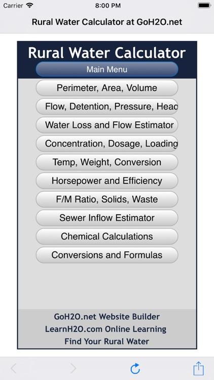 Rural Water Calculator