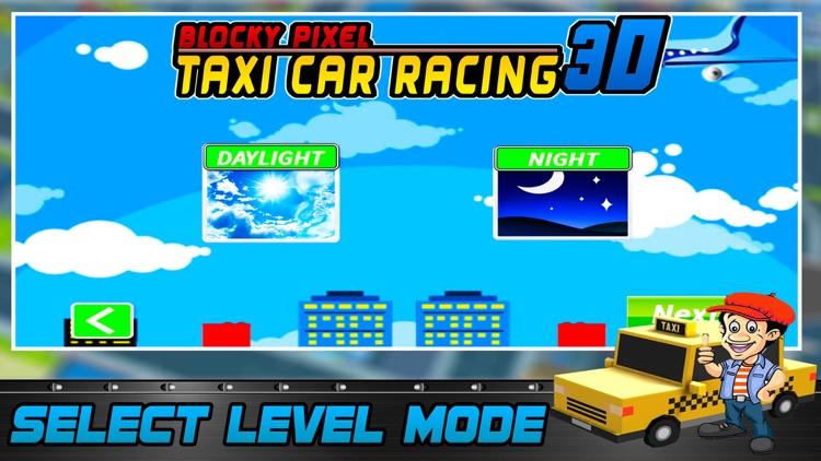 Blocky Pixel Taxi Car Racing 3D screenshot-3