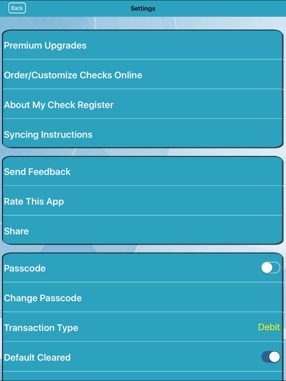 My Check Register screenshot