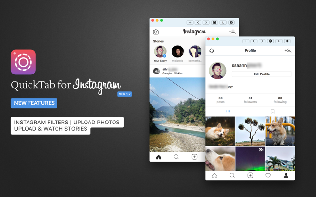 QuickTab for Instagram on the MacAppStore