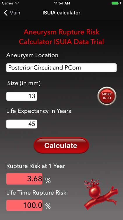 Aneurysm Rupture Risk Calculator