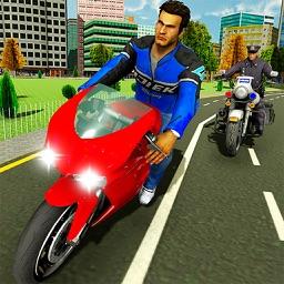 Police Motorbike Driving City