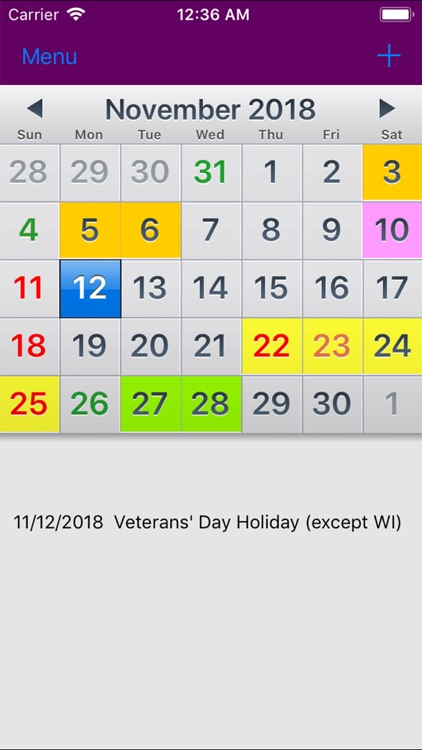 2019 US Holiday Calendar NoAds