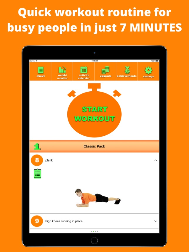 7 Minute Fitness - Orange App Screenshot