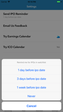 ipo calendar on the app store