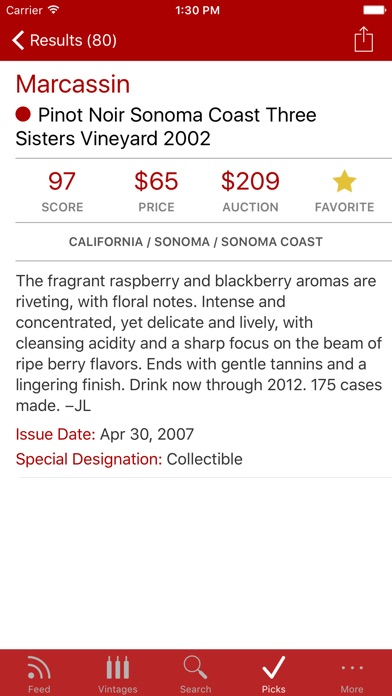 WineRatings+ by Wine Spectator app image