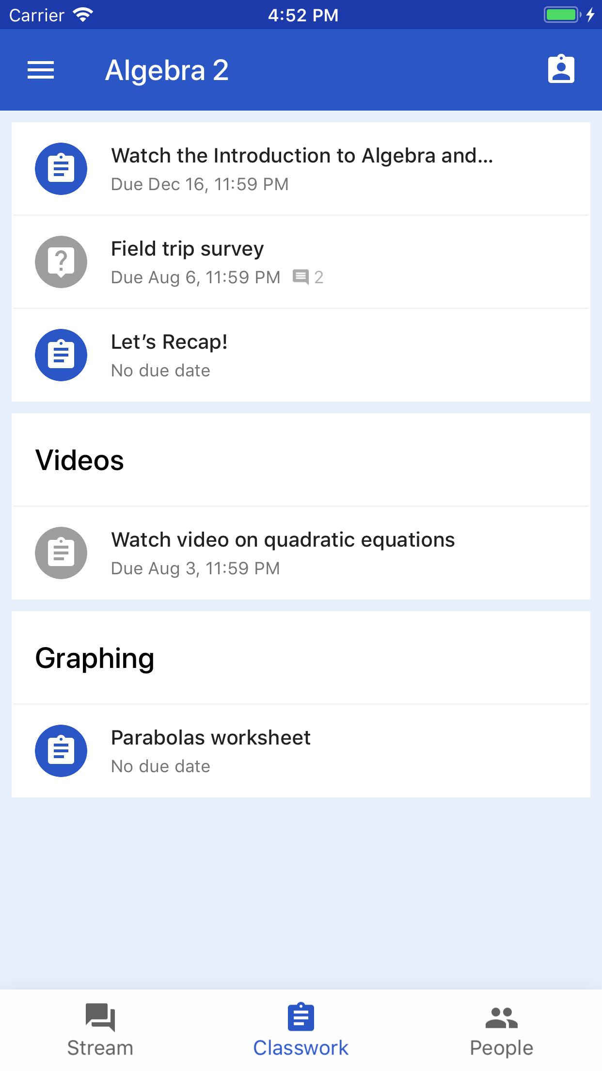 Google Classroom Screenshot