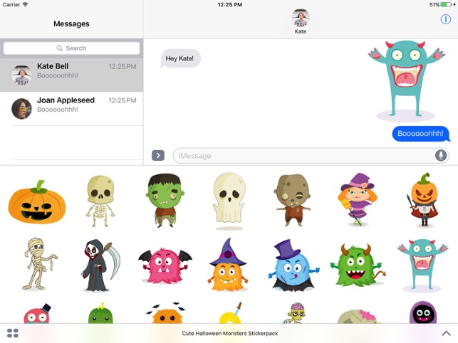 cute halloween monsters stickerpack on the app store