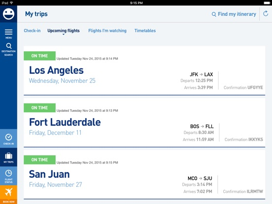 JetBlue - Book & manage trips iPad
