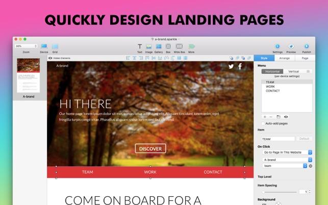 Sparkle, Visual Web Design Screenshot
